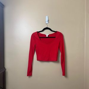 Forever 21 red long sleeve crop top fall/holidays